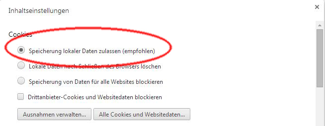 Browsereinstellungen für den Google Chrome Version 5