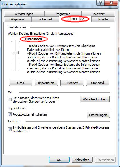 Browsereinstellungen für den Internet Explorer Version 9